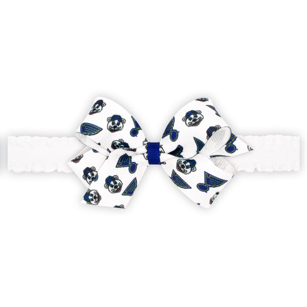 St. Louis Blues Wee Ones Mini Louie & Blue Note Print Bow on Ruffle Elastic Baby Band - STL Authentics