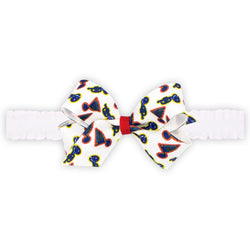 St. Louis Blues Wee Ones Mini Retro Trumpet Logo Bow on Ruffle Elastic Baby Band - STL Authentics
