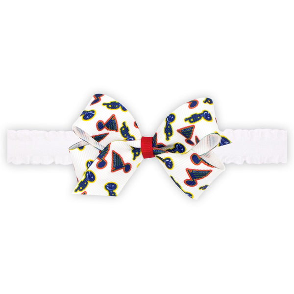 St. Louis Blues Wee Ones Mini Retro Trumpet Logo Bow on Ruffle Elastic Baby Band