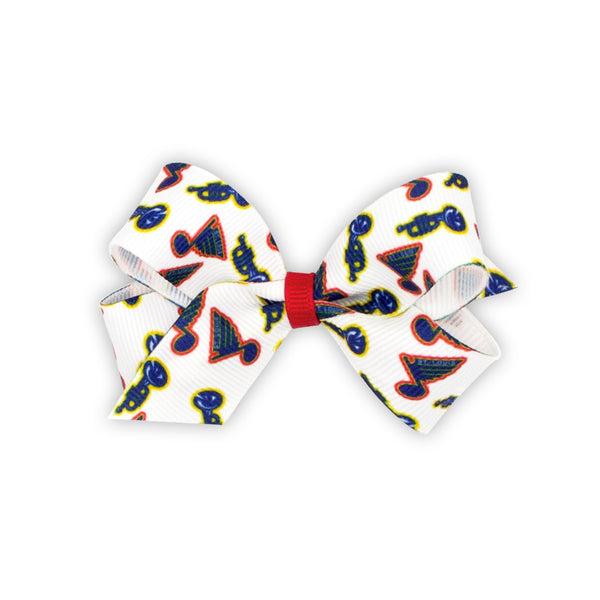 St. Louis Blues Wee Ones Mini Bow with Retro Trumpet Logo Print - STL Authentics