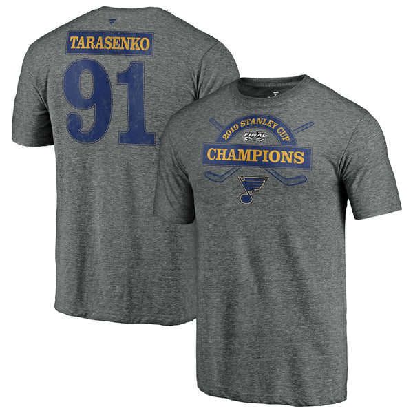 St. Louis Blues Fanatics 2019 Stanley Cup Final Champions Offensive Zone Vladimir Tarasenko #91 Name & Number Tri-blend Tee - Grey | STL Authentics