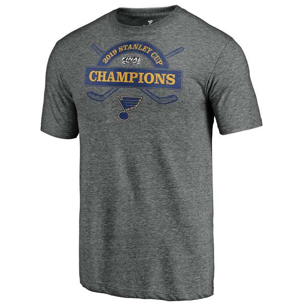 St. Louis Blues Fanatics 2019 Stanley Cup Final Champions Offensive Zone Alex Pietrangelo #27 Name & Number Tri-blend Tee - Grey - STL Authentics