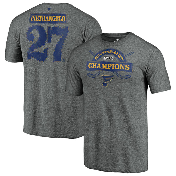 St. Louis Blues Fanatics 2019 Stanley Cup Final Champions Offensive Zone Alex Pietrangelo #27 Name & Number Tri-blend Tee - Grey | STL Authentics