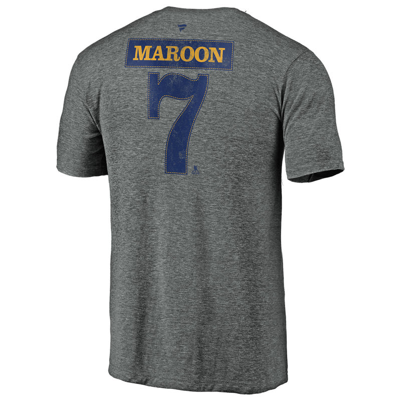 St. Louis Blues Fanatics 2019 Stanley Cup Final Champions Offensive Zone Pat Maroon #7 Name & Number Tri-blend Tee - Grey
