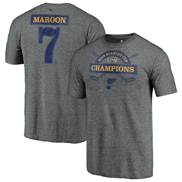St. Louis Blues Fanatics 2019 Stanley Cup Final Champions Offensive Zone Pat Maroon #7 Name & Number Tri-blend Tee - Grey | STL Authentics