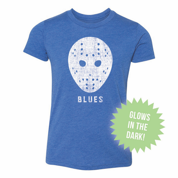 St. Louis Blues 108 Stitches Youth Glow-in-the-Dark Goalie Mask Tee - Royal - STL Authentics