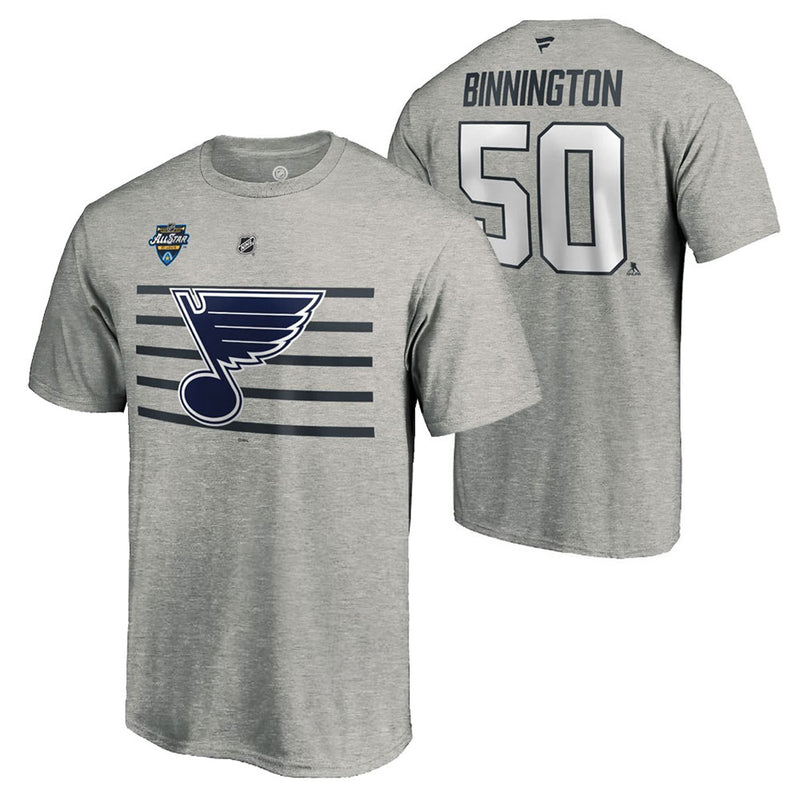 St. Louis Blues Fanatics Jordan Binnington 2020 NHL All-Star Game Name & Number Tee - Gray