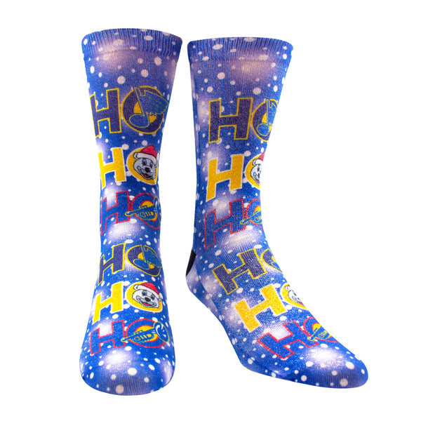 Sublime Design Louie Blue Notes Adult Crew Holiday Shimmer Socks