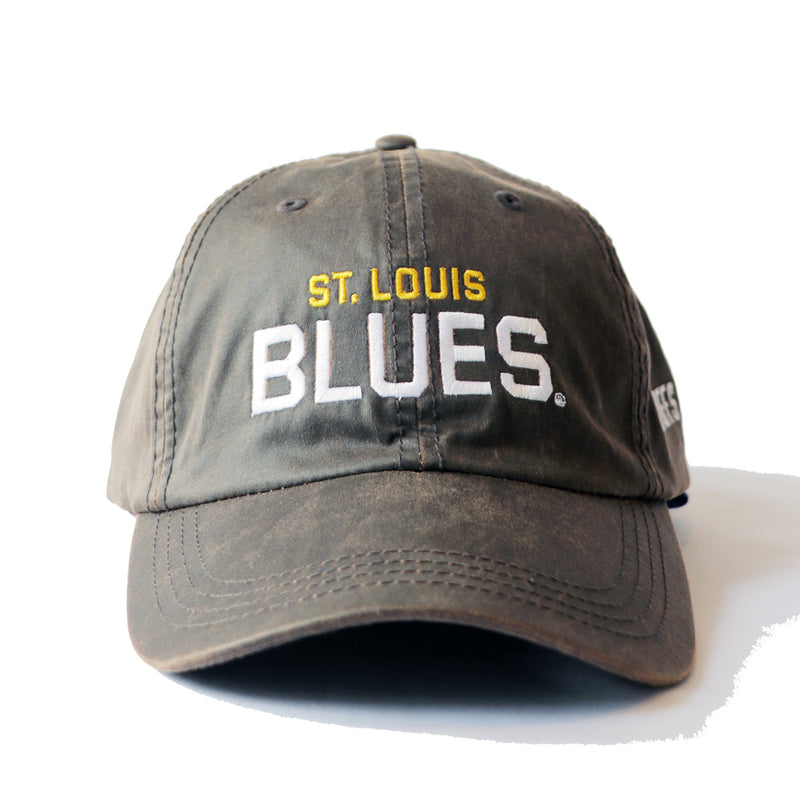 St. Louis Blues Wordmark 2019 Playoffs Waxed Adjustable Slouch Cap - Brown - STL Authentics