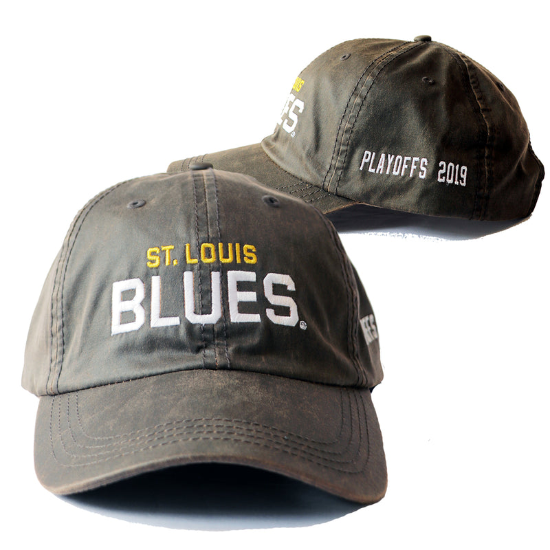 St. Louis Blues Wordmark 2019 Playoffs Waxed Adjustable Slouch Cap - Brown | STL Authentics