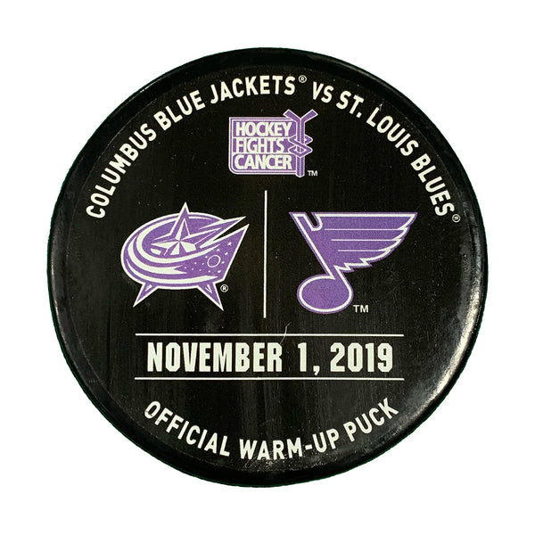 St. Louis Blues vs. Columbus Blue Jackets Hockey Fights Cancer Official Warm-Up Puck - STL Authentics