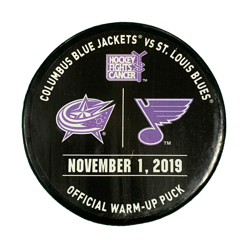 St. Louis Blues vs. Columbus Blue Jackets Hockey Fights Cancer Official Warm-Up Puck