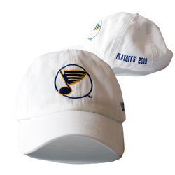 St. Louis Blues Circle Note Logo 2019 Playoffs Adjustable Slouch Cap - White | STL Authentics