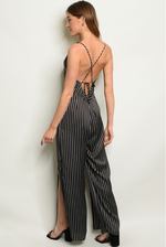 Full Length Stripe Tie-back Jumpsuit