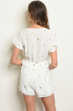 Off White Printed Romper