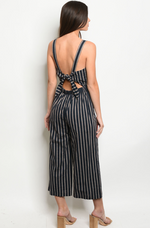 Stripe Tie-back Jumpsuit