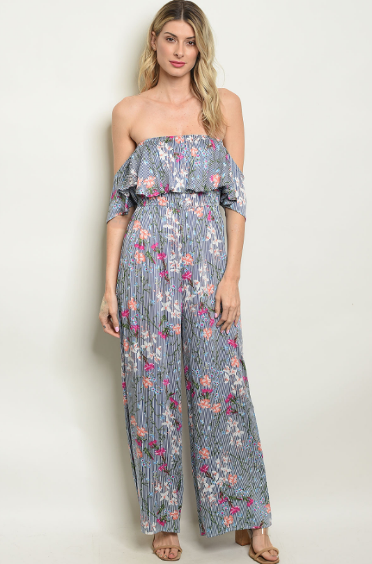 Off Shoulder Garden Jumpsuit