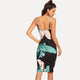 Palm Leaf Print Form Fitting Cami Bodycon Sleeveless Dress