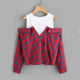 Open Shoulder Check 2 In 1 Shirt Tunic Vogue Blouse