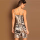 Multicolor Snake Skin Print Cami Bodycon Sleeveless Dress