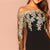 Off the Shoulder Embroidered Mesh Bodice Bardot Bodycon Dress