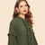 Army Green Stand Collar Drop Waist Buttoned Ruffle Trim Layered Hem Dress