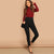 Black Buttoned Fly Skinny Plain Solid Slim Crop Leggings