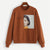 Brown Figure Patched Letter Pullover Sweatshirt