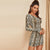 One Shoulder Snake Pattern Long Sleeve Bodycon Dress