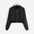 Black Solid Zip Up Front Bomber Jacket