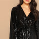 Black Wrap Front Lantern Sleeve Sequin Bishop Sleeve Maxi Dress
