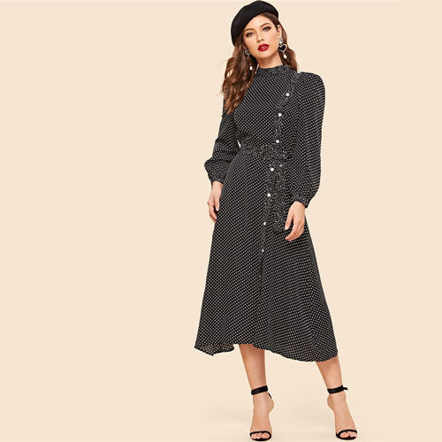 de93ad1736 Polka Dot Dress Women Stand Collar And Bishop Sleeve Long Dress