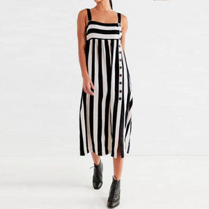 Striped Sleeveless With Button Casual Dresses