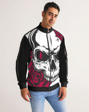 Laden Sie das Bild in den Galerie-Viewer, Dwayne Elliott Collection Skull Rose Men's Stripe-Sleeve Track Jacket - Dwayne Elliott Collection