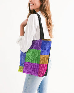 Skull Bow Canvas Zip Tote