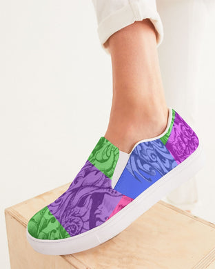 Skull Bow Women's Slip-On Canvas Shoe