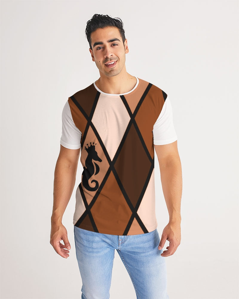 Dwayne Elliott Collection Brown Argyle Men's Tee - Dwayne Elliott Collection
