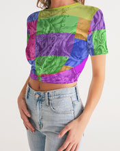 Load image into Gallery viewer, Skull Bow Women's Twist-Front Cropped Tee
