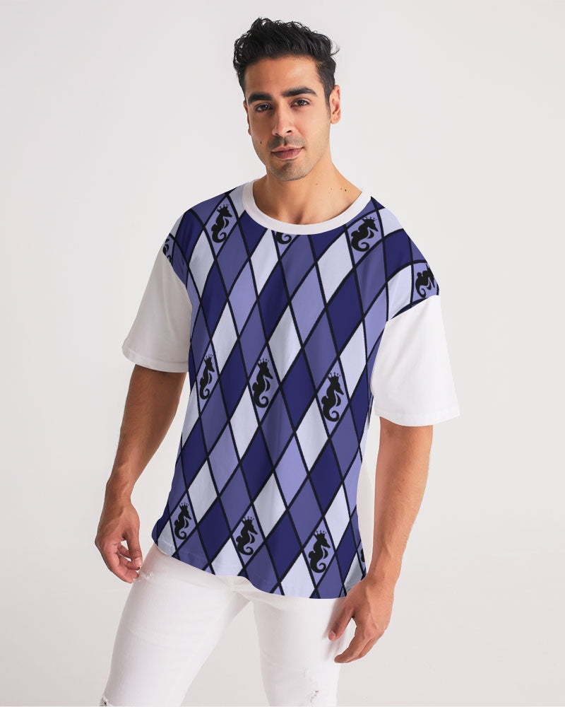 Dwayne Elliott Collection Blue Argyle Men's Premium Heavyweight Tee - Dwayne Elliott Collection