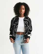 Load image into Gallery viewer, Dwayne Elliot Collection Black Rose Women's Bomber Jacket - Dwayne Elliott Collection