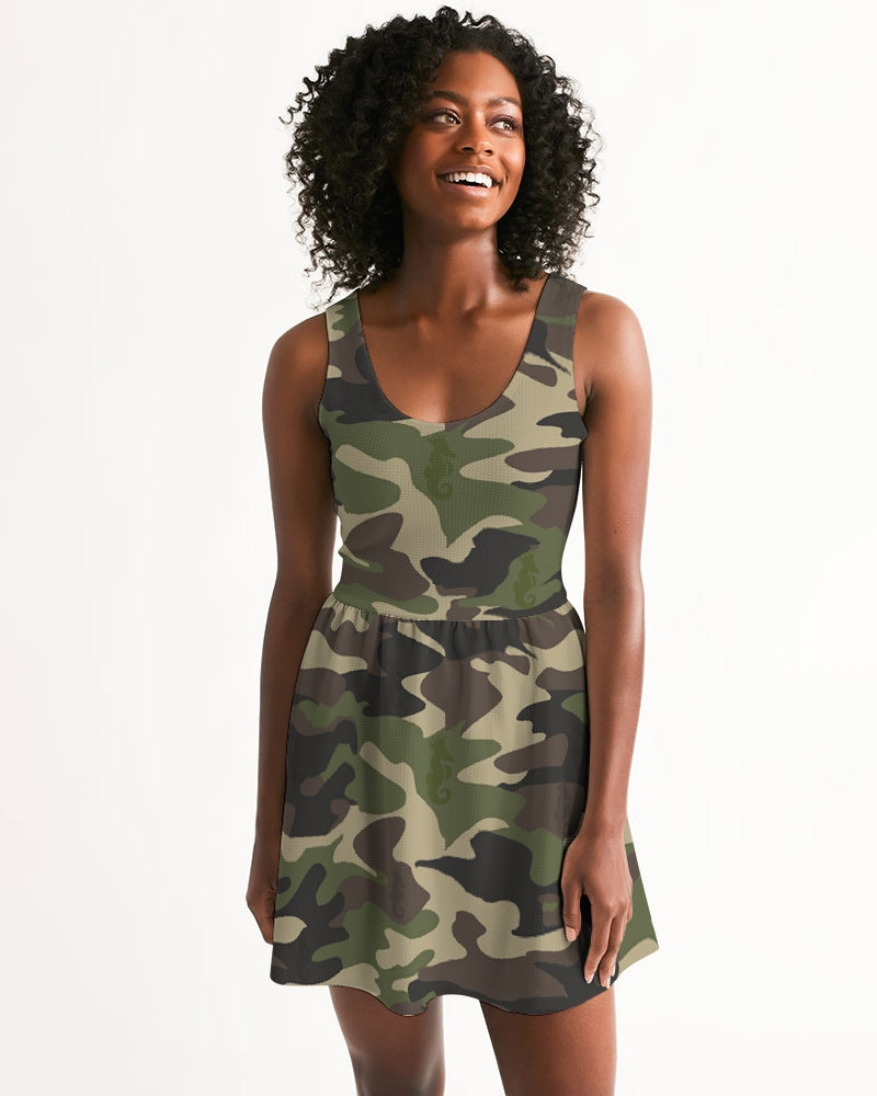 Dwayne Elliott Collection Camo Women's Scoop Neck Skater Dress - Dwayne Elliott Collection