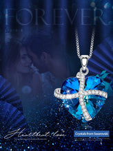 Load image into Gallery viewer, Swarovski Crystals Bermuda Blue Pave Heart Ribbon  Necklace