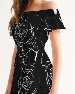 Dwayne Elliot Collection Black Rose Off-Shoulder Dress - Dwayne Elliott Collection