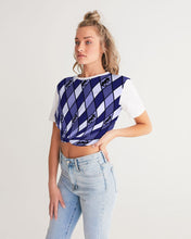 Load image into Gallery viewer, Dwayne Elliott Collection Blue Argyle Women's Twist-Front Cropped Tee - Dwayne Elliott Collection