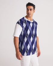Laden Sie das Bild in den Galerie-Viewer, Dwayne Elliott Collection Blue Argyle Men's Premium Heavyweight Tee - Dwayne Elliott Collection