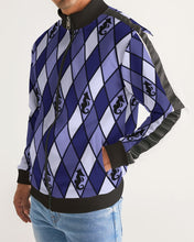 Load image into Gallery viewer, Dwayne Elliott Collection Blue Argyle Men's Stripe-Sleeve Track Jacket - Dwayne Elliott Collection