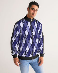Dwayne Elliott Collection Blue Argyle Men's Stripe-Sleeve Track Jacket - Dwayne Elliott Collection