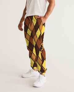 Dwayne Elliott Collection Brown Argyle Men's Track Pants - Dwayne Elliott Collection