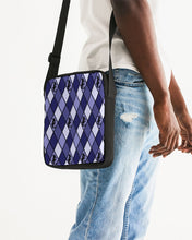 Load image into Gallery viewer, Dwayne Elliott Collection Blue Argyle Messenger Pouch - Dwayne Elliott Collection