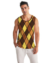 Load image into Gallery viewer, Dwayne Elliott Collection Brown Argyle Men's Sport Tank - Dwayne Elliott Collection